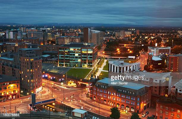 Skyline of Deansgate at sunset
