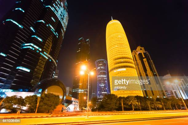 Skyline of Doha, Qatar at night