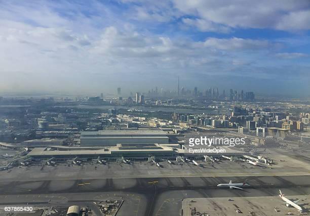 Skyline of Dubai with skyscrapers Burj Khalifa Princess Tower 23 Marina W Marriott Marquis Hotel Dubai 1 2 Emirates Office Tower The Torch seen from...