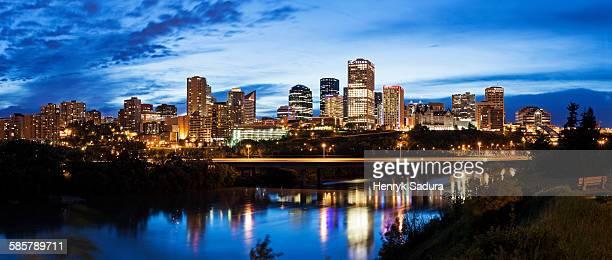 Skyline of Edmonton at sunset
