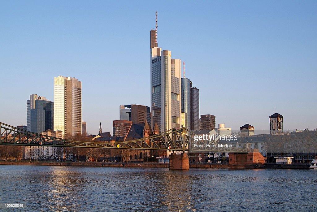 skyline of Frankfurt and river Main, Germany : Stock Photo