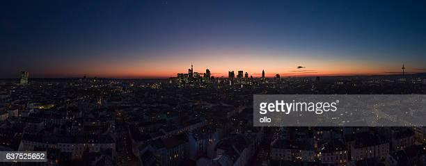 Skyline of Frankfurt at dusk