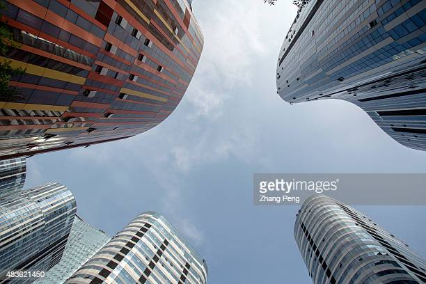 Skyline of high buildings in Sanlitun soho a new complex of office shopping and entertainment centers According to recent data China will have more...
