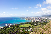 Skyline of Honolulu, Hawaii and the surrounding area including the hotels and buildings