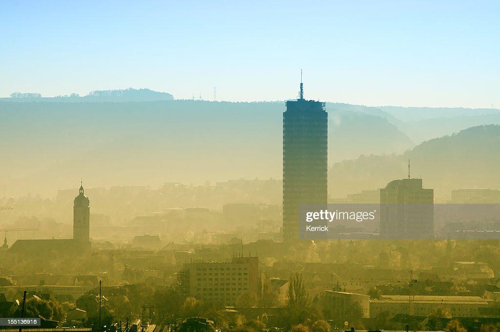 Skyline of Jena / Germany in dusty morning