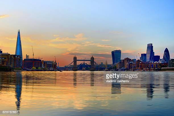 Skyline of London at sunset