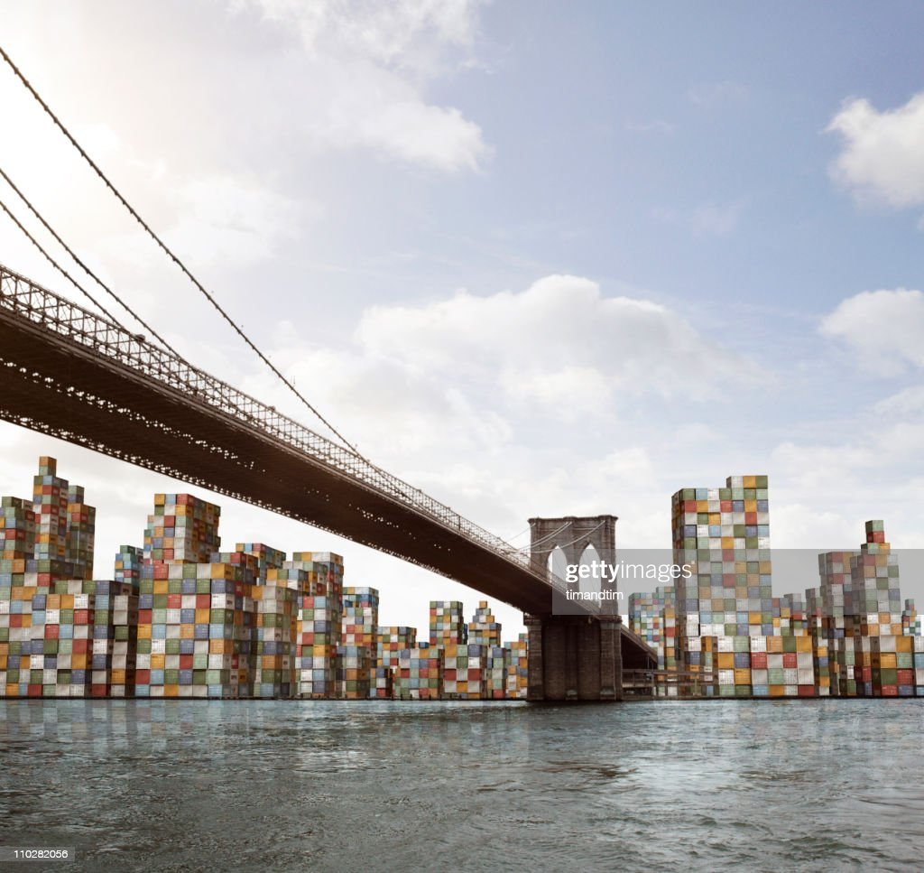 skyline of Manhattan with cargo containers : Stock Photo