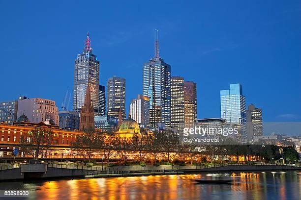 Skyline of Melbourne at dusk