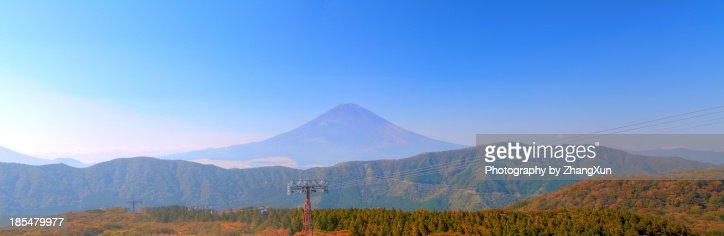 Skyline of Mt.Fuji and Ropeway from Owakudani