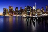 USA, New York, New York City. Skyline of New York Manhattan (Downtown) Twilight