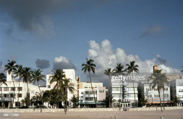 Skyline of Ocean Drive on May 31 1992 in Miami Florida Photo by Santi Visalli/Getty Images}