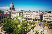 Skyline of old Havana with Capitol building, teatro of la habana and parque central. Cuba