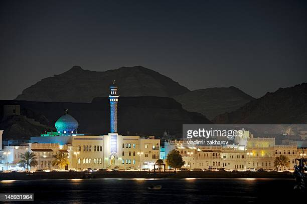 Skyline of Old Muscat at night
