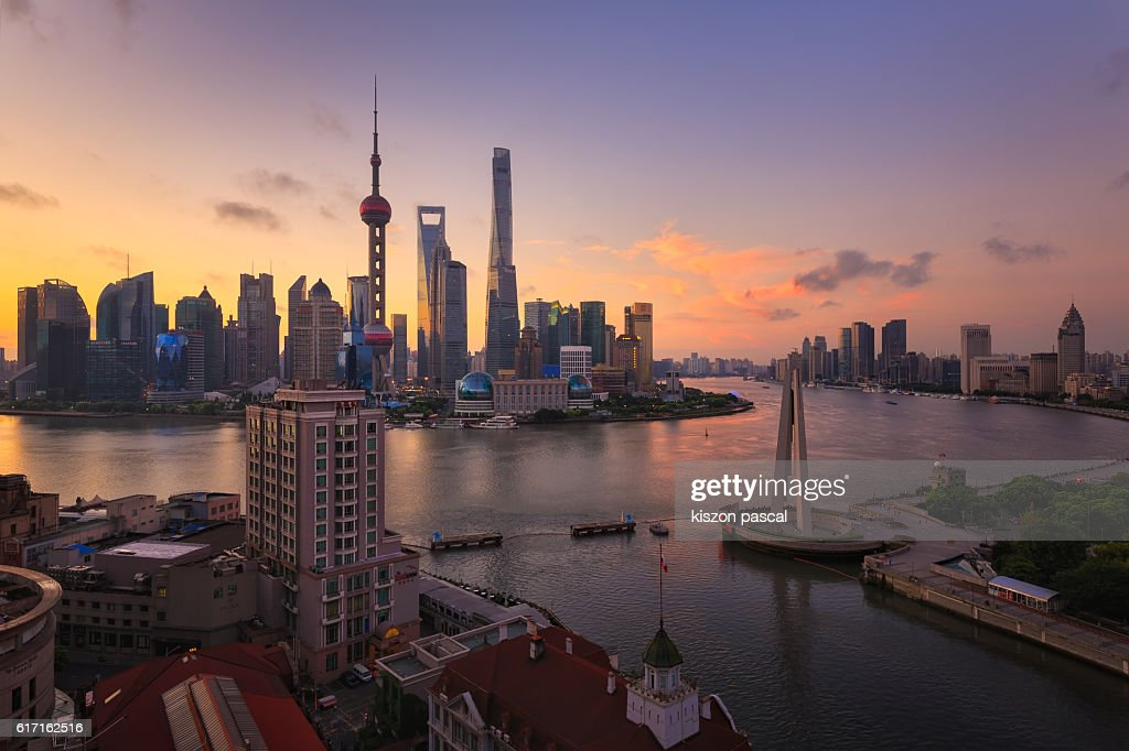 Skyline of Pudong in the morning in Shanghai : Stock Photo