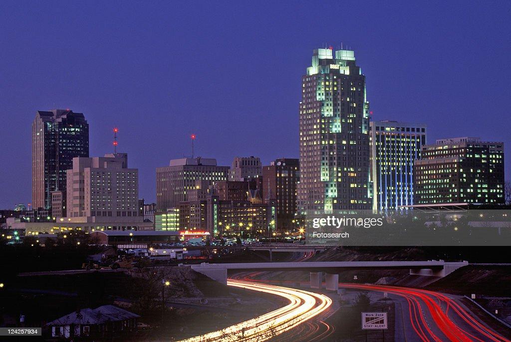 Skyline of Raleigh at night