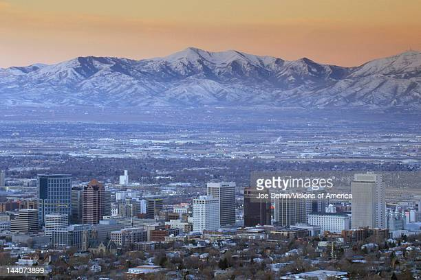 Skyline of Salt Lake City UT with Snow capped Wasatch Mountains in background
