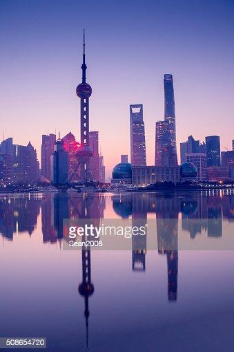 Skyline of shanghai at dawn : Stock Photo