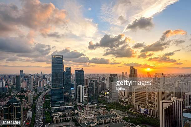 Skyline of Shanghai at sunset, China