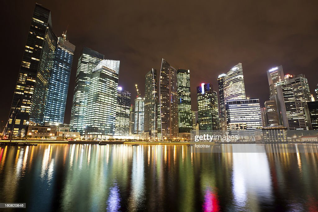 Skyline of Singapore Financial District : Stock Photo