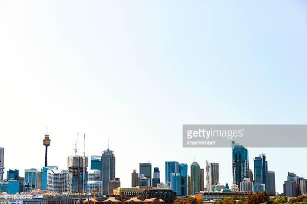 Skyline of Sydney Australia view from Glebe, copy space