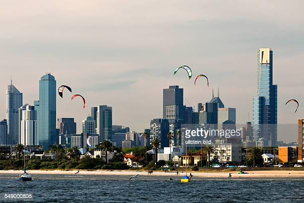 Skyline of the central business district seen from St Kilda Kitesurfers in the foreground