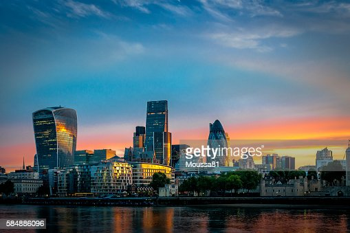 Skyline of The City in London, England at sunrise : Stock Photo