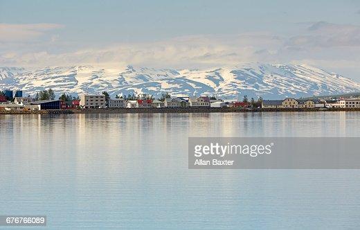 Skyline of the Icelandic village of Akureyri