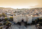 Skyline of the Old City in Jerusalem with Damascus Gate, Israel. Middle east