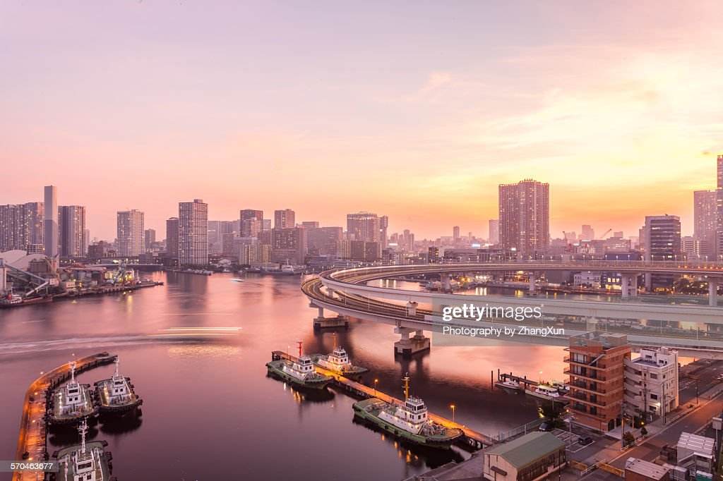 Skyline of Tokyo bay waterfront at sunset