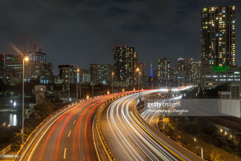 Skyline of Tokyo cityscape with traffic light