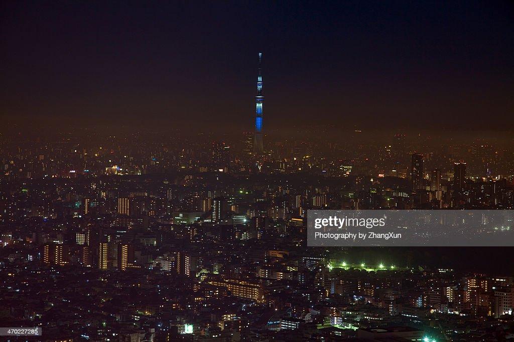 Skyline of Tokyo skyscrapers at night : Stock Photo