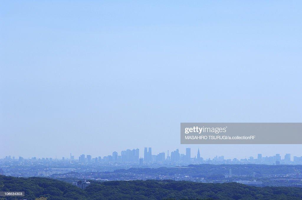 Skyline of Tokyo viewed from Sagamiharam Kanagawa Prefecture, Honshu, Japan