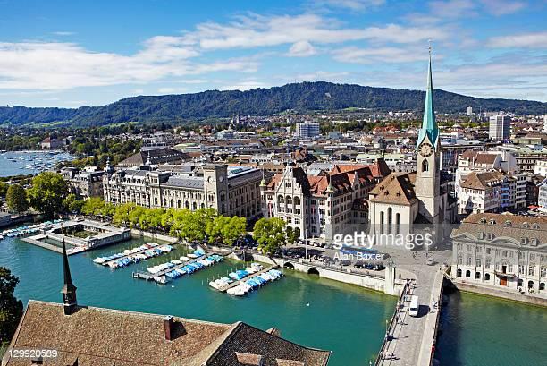 Skyline of Zurich and Limmat River