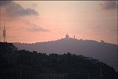 Skyline over Barcelona at dusk