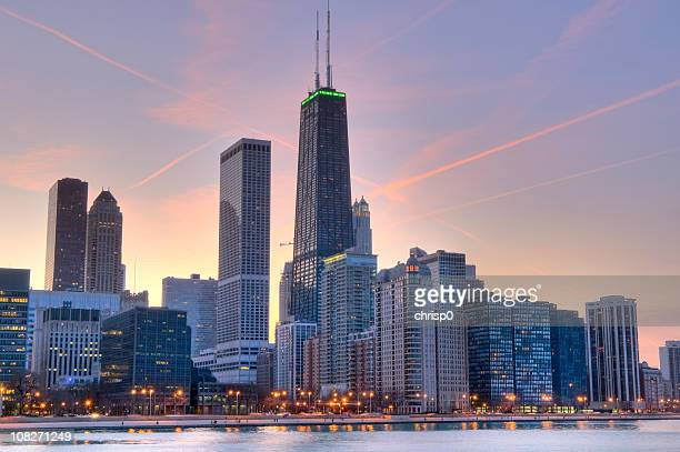 Skyline view at sunset of Northern Chicago