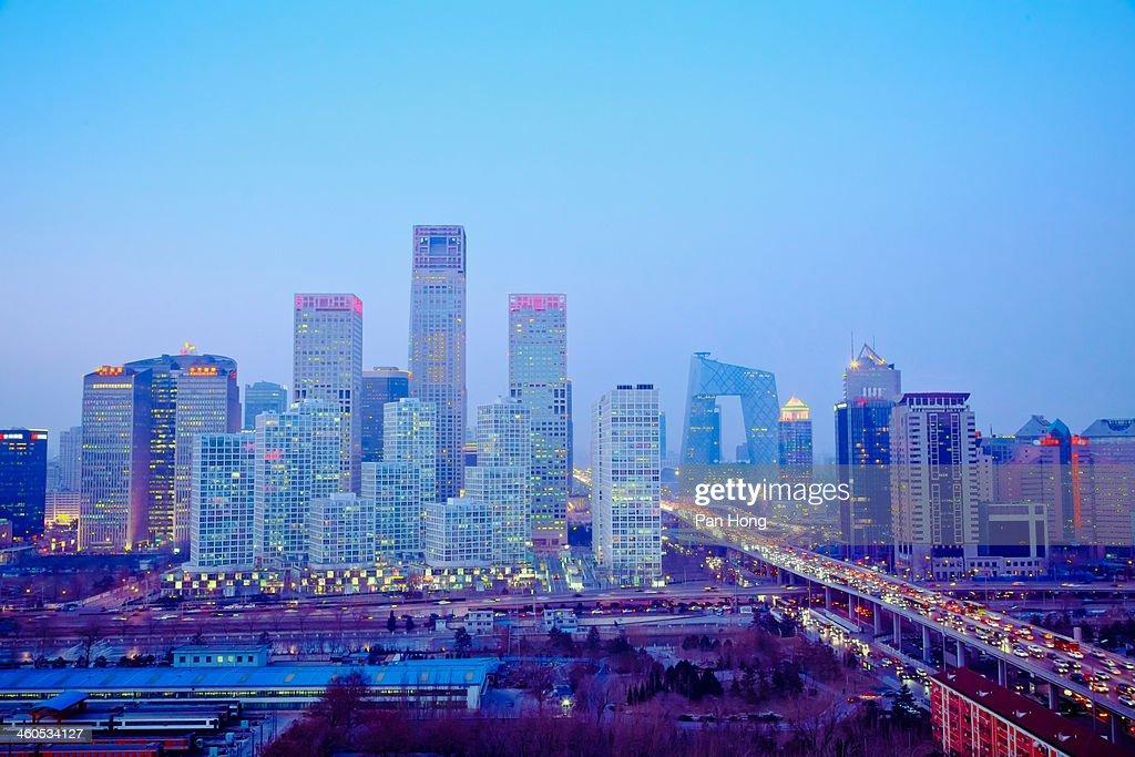 Skyline view of Beijing's CBD at night