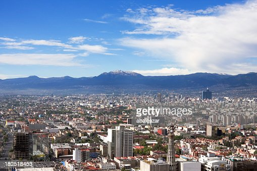 Skyline view of Mexico City on a sunny day