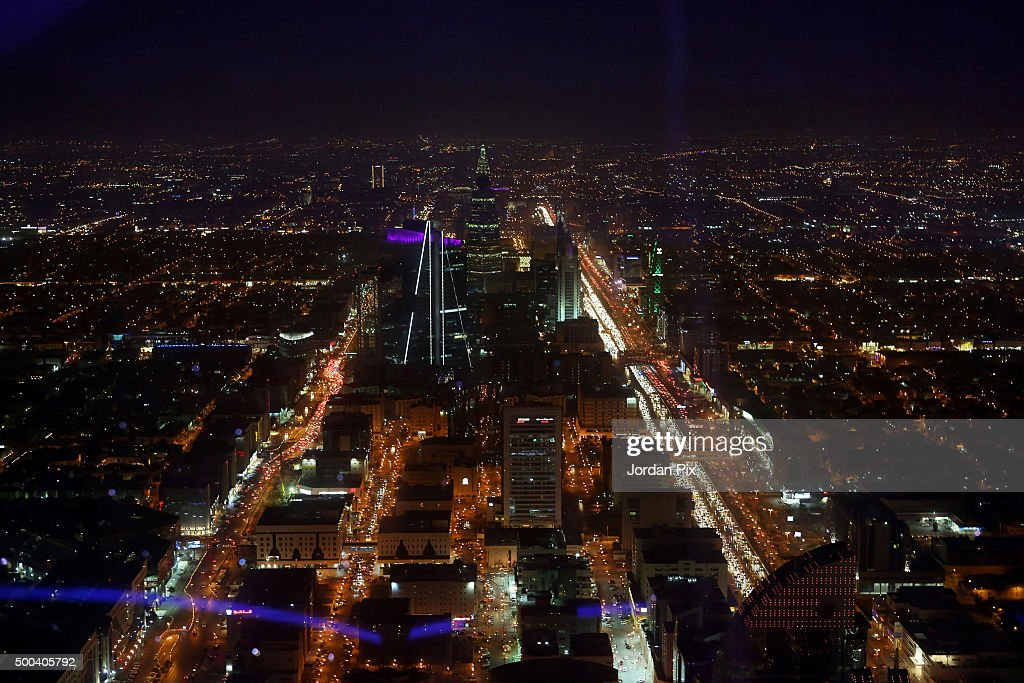 A skyline view of the city from the 99th floor the viewing floor at The Kingdom tower on December 7 2015 in Riyadh Saudi Arabia The Kingdom of Saudi...
