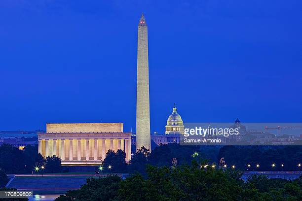 CONTENT] A skyline view of Washington District of Columbia at dusk The Lincoln Memorial Washington Monument and the US Capitol Building illuminate...