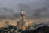 Skyline with Abraj Al Bait (Royal Clock Tower Makkah) in Mecca, Saudi Arabia.