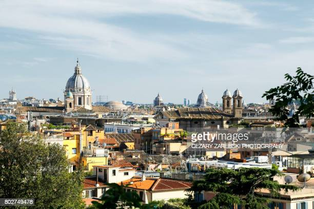 Skyline with church cupolas, Rome Italy