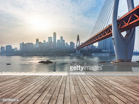 skyline,river and bridge during sunset : Stock Photo