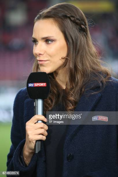SkyModeratorin Esther Sedlaczek looks on during the Second Bundesliga match between VfB Stuttgart and 1 FC Union Berlin at MercedesBenz Arena on...