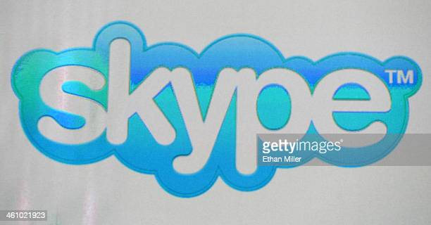 Skype logo is shown on a screen at an Intel Corp press event at the Mandalay Bay Convention Center for the 2014 International CES on January 6 2014...