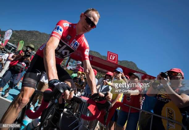 Sky's British cyclist Chris Froome rides prior to the start the 4th stage of the 72nd edition of 'La Vuelta' Tour of Spain cycling race a 1982km...