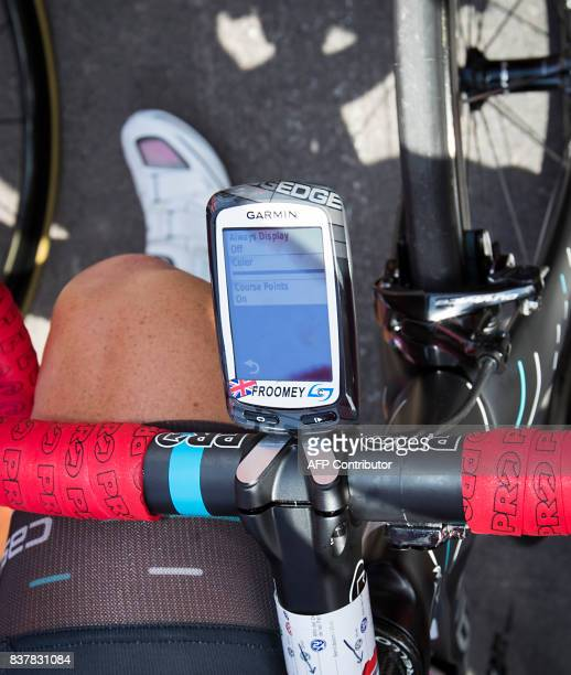 Sky's British cyclist Chris Froome's bike computer is pictured before the start of the 5th stage of the 72nd edition of 'La Vuelta' Tour of Spain...