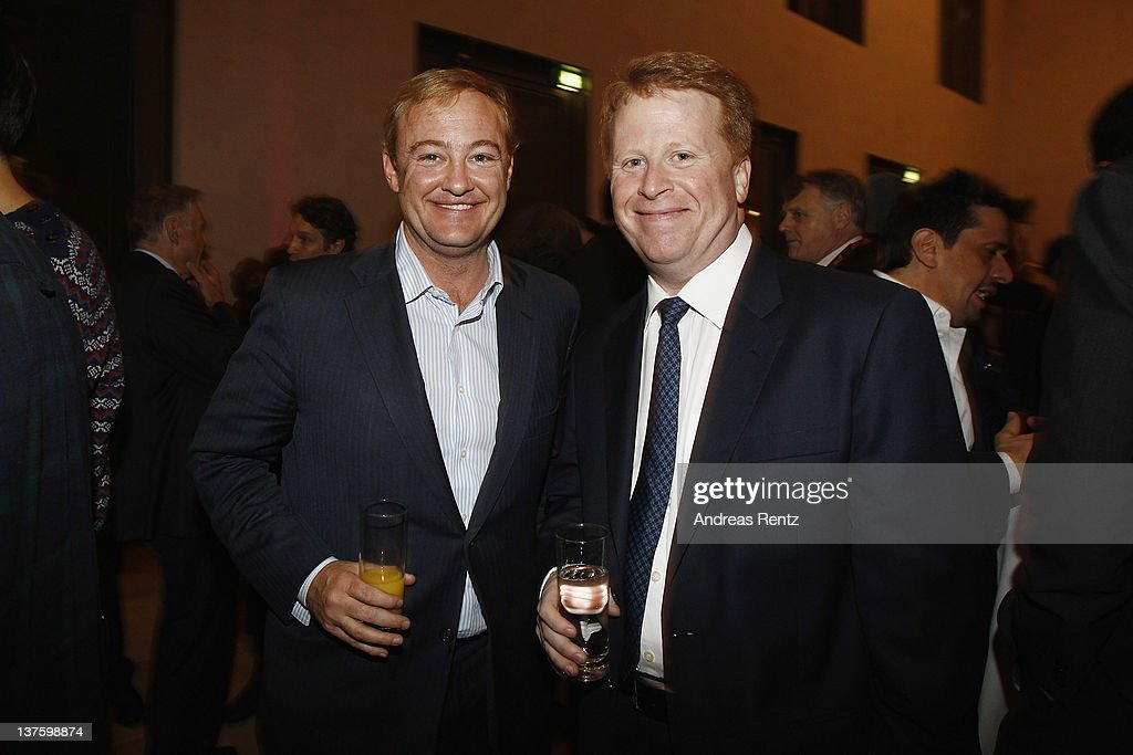 Sky's CEO Brian Sullivan (R) and guest attend the Chairmen & Speaker Dinner during the DLD Conference 2012 at the Jewish Community Centre on January 22, 2012 in Munich, Germany.