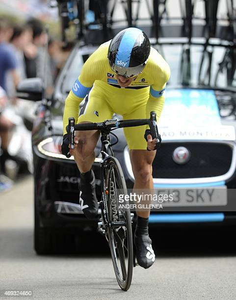 Sky's Colombian rider Sergio Henao rides during the last stage of the Tour of the Basque Country in Aia northern Spain on April 11 2015 Katusha's...