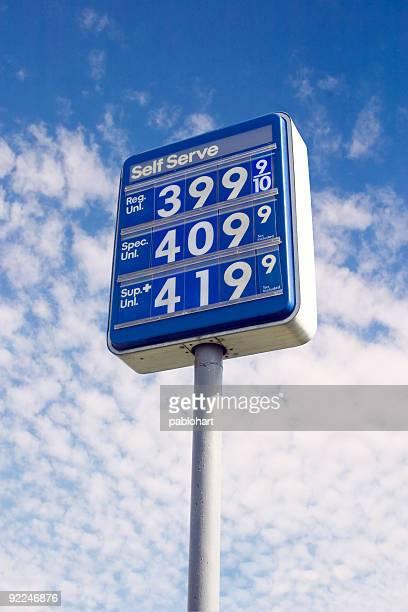 Himmel ist die Grenze-Gas Preis Zeichen