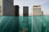 Skyscapers submerged in water